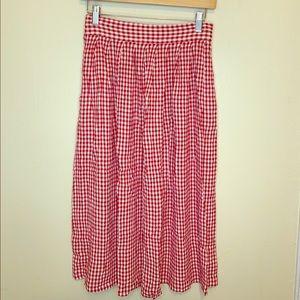 VTG Gingham Midi Skirt